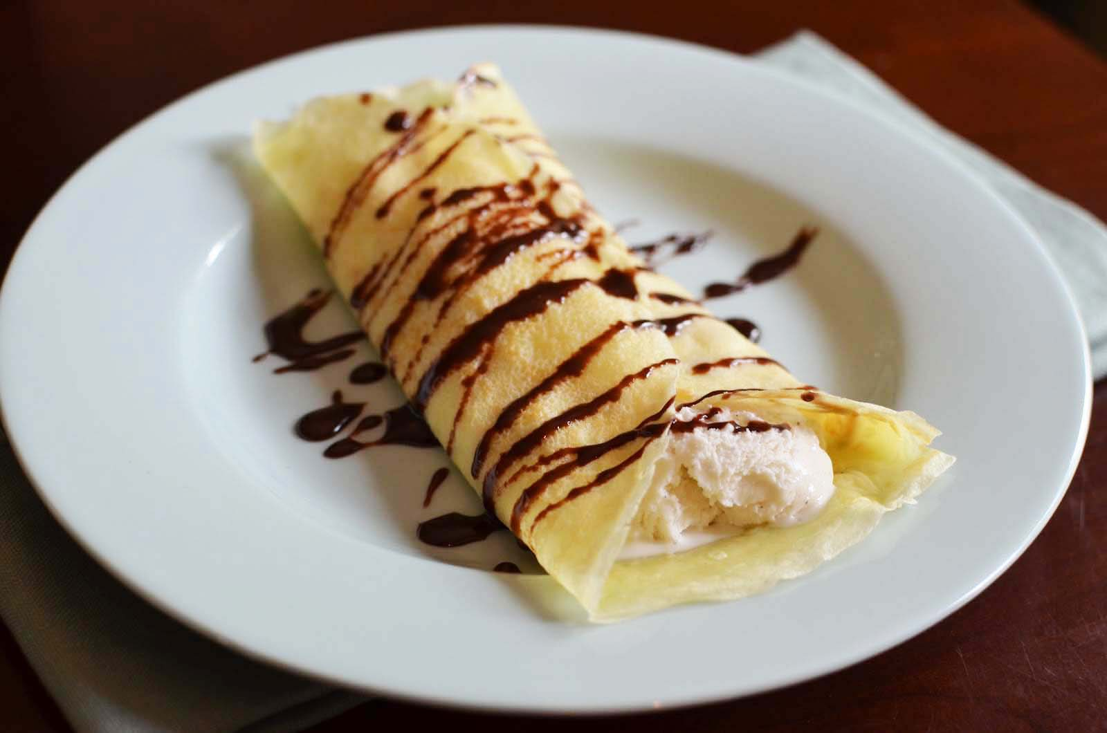 Simple but luscious soft serve crepe