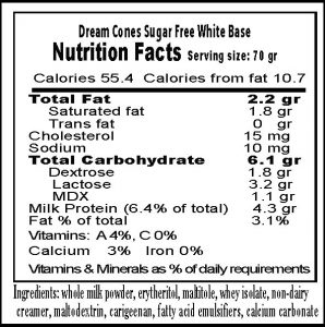 White base, just 55 calories. Fruit flavors 65 calories loaded with vitamin C